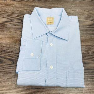 Ike Behar White & Blue Check Dress Shirt 18 36/37